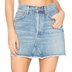 AGOLDE Quinn Mini Skirt Button Fly Denim Jean 26